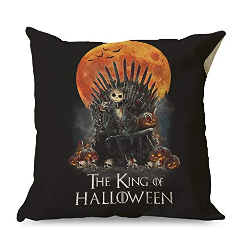 Xuanwuyi Jack the king of halloween Decorative Throw Pillows Covers 16x16 18x18 20x20 Inch for Sofa Square White Modern Style white 45x45cm