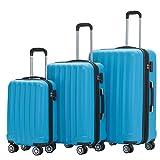 BEIBYE TSA-Schloß 2080 Hangepäck Zwillingsrollen neu Reisekoffer Koffer Trolley Hartschale Set-XL-L-M(Boardcase) (Turquoise, Set)