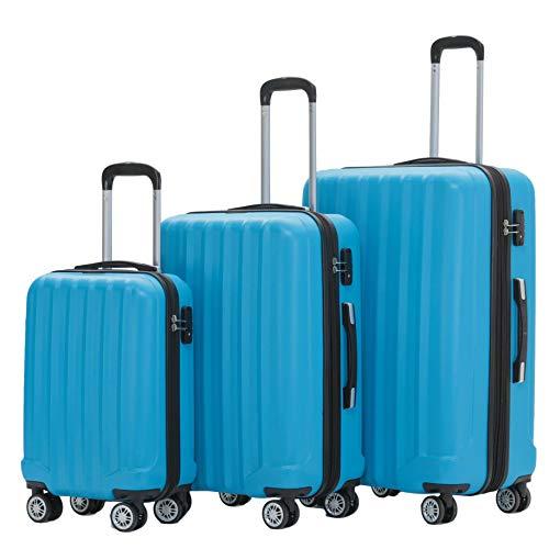BEIBYE TSA-Schloß 2080 Zwillingsrollen 3 TLG. Reisekofferset Koffer Kofferset Trolley Trolleys Hartschale (Türkis)