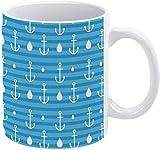 Tazza da caffè bianca con simbolo di ancoraggio nautico con gocce d'acqua vacanza tazza da caffè