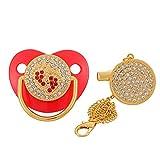 zhongbao Chupete de bebé con clip para chupete de silicona para bebé con chupete para bebé (color: rojo)