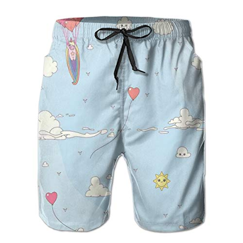 Men's Big and Tall Swim Trunks Beachwear Drawstring Summer Holiday,Flying Horse with Heart Balloons Childish Cartoon Girly Design,3D Print Shorts Pants,Large