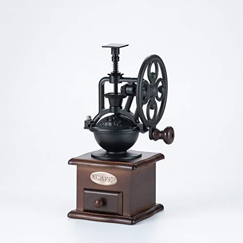DecentGadget® Machine de pure poudre en bois café Collection boîte style Vintage main Grinder Moulin à café de grains de café avec de la céramique de base de broyage