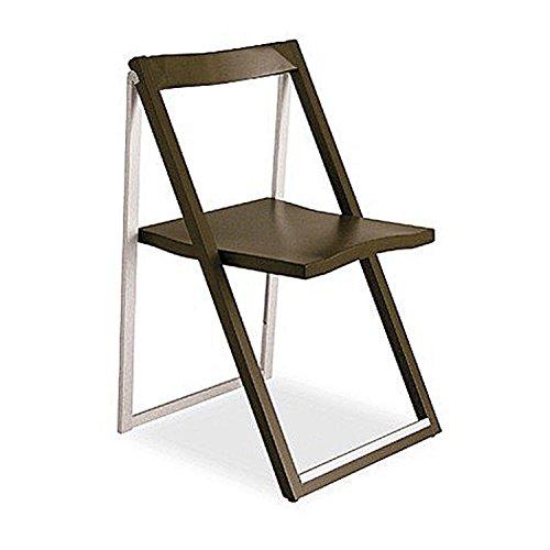 Calligaris Walnut Wood and Aluminium Folding Chair Skip