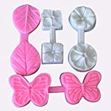 niumanery Set of 4 3D Butterfly Embosser Flower Leaf veiner Mould Embossing Cake Fondant Silicone Mold for Cupcake Decorating Topper Decoration sugarcraft Decor
