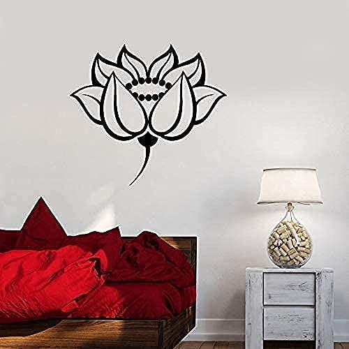 Lotus Wall Decal Flower Room Diseño Etiqueta de la pared Meditación Etiqueta engomada de Yoga Art Mantra Chakra Pegatina 75x82cm