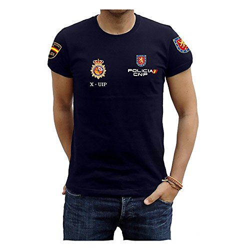 Piel Cabrera Camiseta Policía UIP (Talla S, Negro)