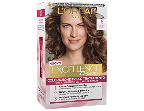 L'Oréal Paris Excellence Crema Colorante Triplo Trattamento Avanzato, 6 Biondo Scuro,1 Pacco