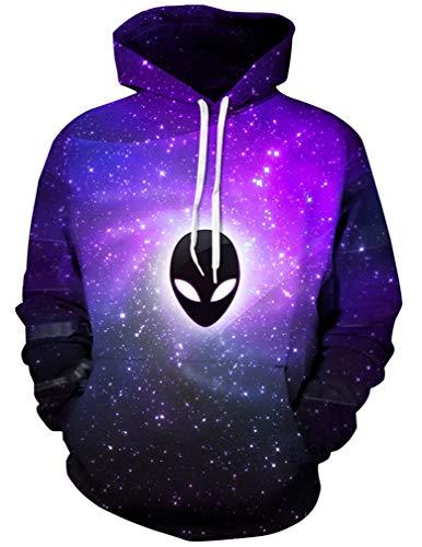 Ocean Plus Herren 3D Kapuzenpullover Hoodie Halloween Cosplay Sweatshirt Hooded Sweat Einzigartig Galaxie Pullover (XXL/3XL (Brustumfang: 126-146CM), Lila Alien)