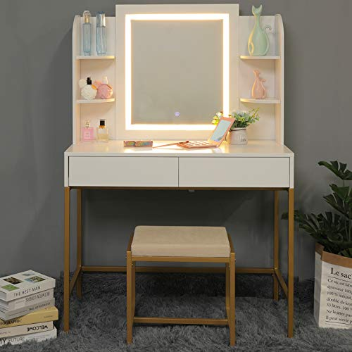 usikey Vanity Table Set with Lighted Mirror, Makeup Table with 4 Storage Shelves & 2 Drawers, Dressing Vanity Tables with Cushioned Stool, Dresser Desk for Girls, Women, White