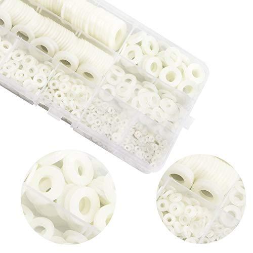 Zaky Unterlegscheiben Kunststoff Weiß 520 Stück Beilagscheiben Nylon Unterlegscheiben M2 M2.5 M3 M4 M5 M6 M8 M10 Rund Isolierscheiben Flache Scheibe Flat Washer für Mechanische