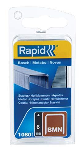 Rapid Tackerklammern Typ BMN, 6mm Klammern, 1.080 Stk., Feindrahtklammern für Bosch, Metabo und Novus Hand- und Elektrotacker