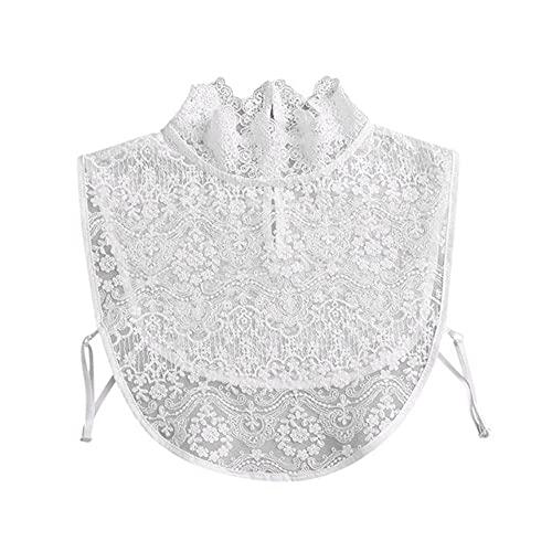 Collar de encaje de mujer Color puro Collar de gargantilla de solapa desmontable Camisa Falso cuello falso Blusa Sudadera Chaleco Accesorios # T1P-Khaki, China