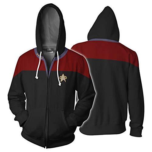 Herren Graphic Sweatshirt Man Schönheit rund um cosplay3d Digitaldruck Star Trek Serie Strickjacke Mantel männlich,Star Trek rot und schwarz Reißverschluss,L