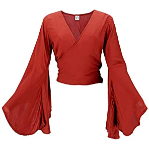 Guru-Shop Blusa corta con mangas de trompeta, para mujer, color gris, sintética, talla: 38, ropa alternativa | DeHippies.com