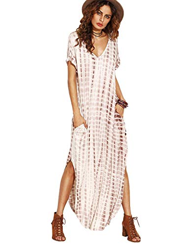 MakeMeChic Women's Boho Maxi Short Sleeve Split Pockets Tie Dye Long Dress A Coffee XL
