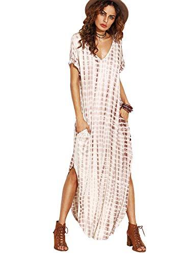 MakeMeChic Women's Boho Maxi Short Sleeve Split Pockets Tie Dye Long Dress A Coffee M