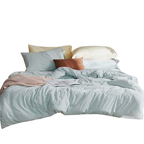 WLX Full Cotton Naked Sleeping Bedding Four-piece Set 100 Pure Cotton Simple Knitted Duvet Cover Deep Pocket Bed Sheet 1.8m Bed Sheet