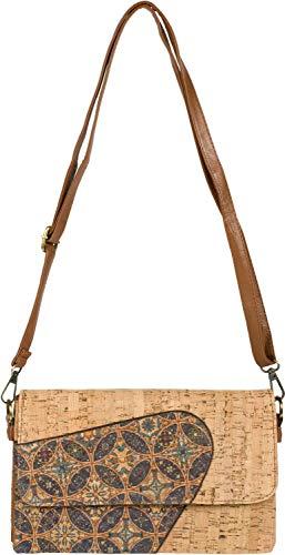 styleBREAKER Damen 2 in 1 Umhängetasche aus Kork mit buntem Muster Print im Ethno Look, Clutch Tasche, Schultertasche 02012361, Farbe:Violett-Petrol-Beige