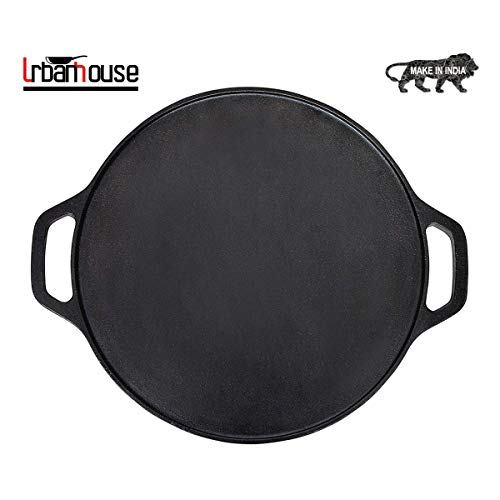 urbanhouse Pre-Seasoned Cast Iron Dosa Tawa 12 inches, Perfect for Cooking on Gas, Induction and Electric Cooktops