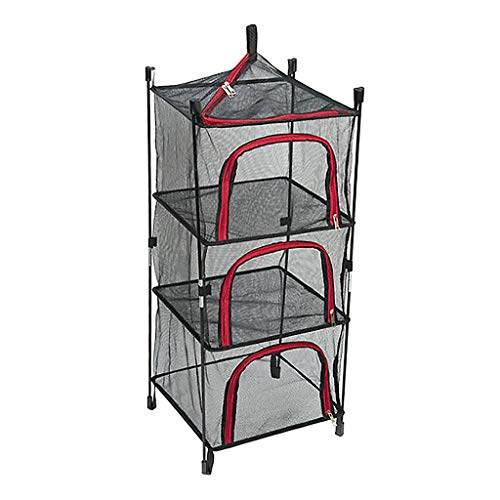 HomeDecTime Portátil de 4 Capas de Malla para Colgar en El Estante de Secado de Hierbas Red Seca con Cremalleras para Al Aire Libre Camping Picnic Alimentos Utens