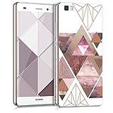 kwmobile Hülle kompatibel mit Huawei P8 Lite (2015) - Handyhülle - Handy Hülle Glory Dreieck Muster Rosa Rosegold Weiß