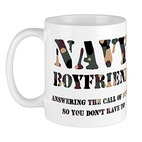 CafePress - Navy Boyfriend Answering The Mug - Unique Coffee Mug, Coffee...