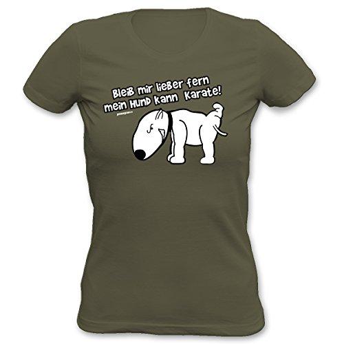 Damen T-Shirt mit Hundemotiv - Bleib Mir Lieber fern, Mein Hund kann Karate! - Exclusiv für Hundefreunde