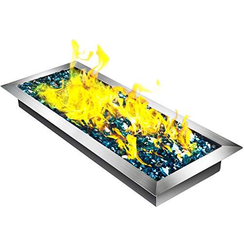 VEVOR Fill-in Fire Pit Pan Burner Natural Gas Fire Pit Burner 20x8 Inch Fire Pit Pan 13.2 LBS Stainless Steel Fill in Pan Linear Fire Pit Pan Metal Square Burner Heater