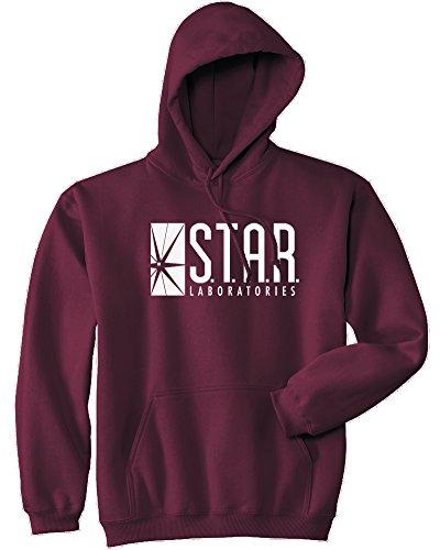 Mars NY Unisex Team Flash Star Labs Hoodie (M, Maroon)