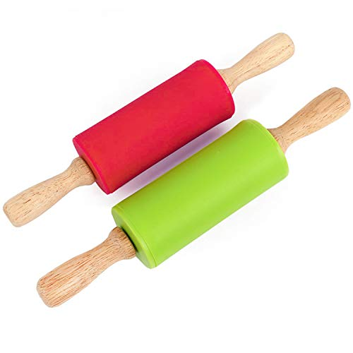 Honglida 9 Inch Silicone Rolling Pin for Kids, Non-stick Surface and Comfortable Wood Handles