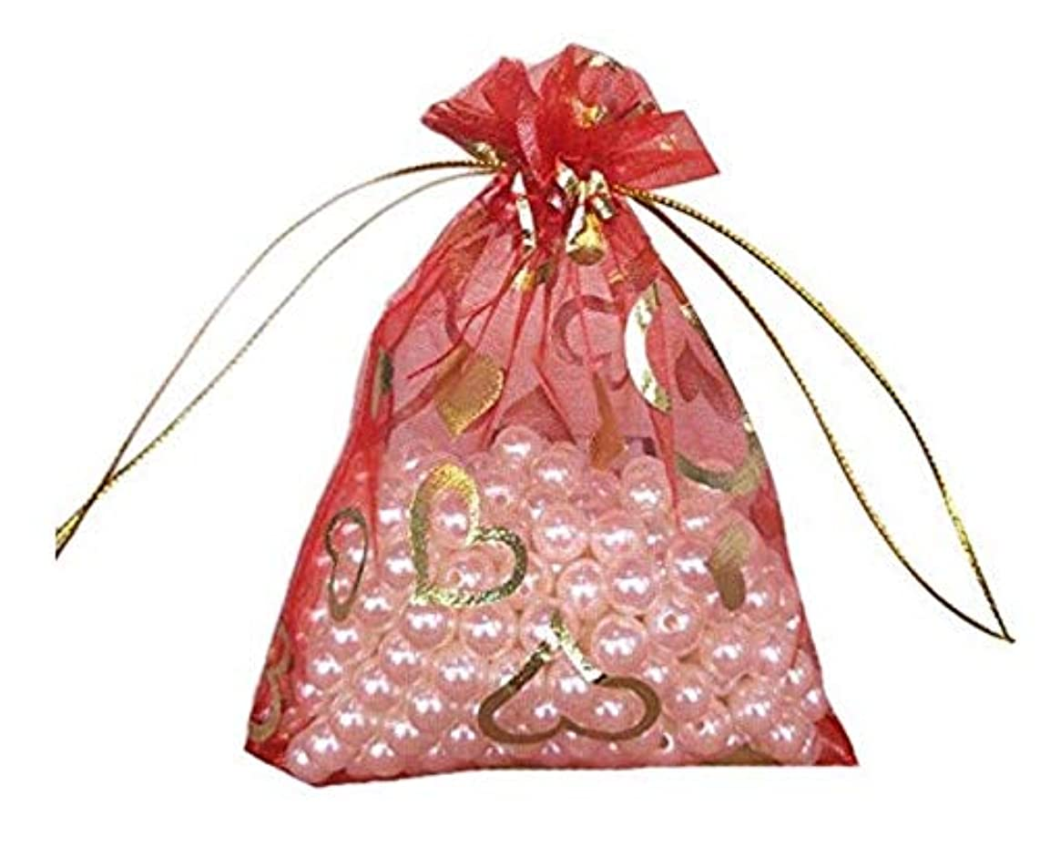 VandaSugar 100 PCS 3.54 by 4.72 inches Red Color Heart Organza Gift Bags with Drawstring edding Party Bags Candy Bags Jewelry Bags