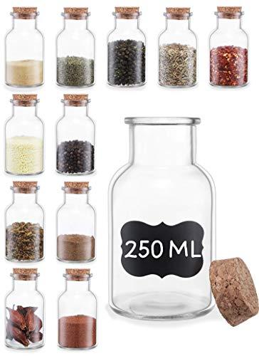 Tarros de Especias con Tapon de Corcho - 250ml - Con Etiquetas - Hermeticos - Apto para Lavavajillas - Especieros de Cristal