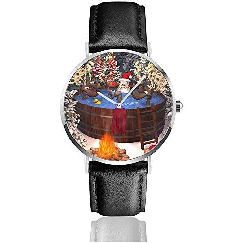 3D-Cartoon-Illustration, die den Weihnachtsmann und mehrere Rentiere in einem Außenwhirlpool darstellt Herren-Lederarmbanduhren Armbanduhr