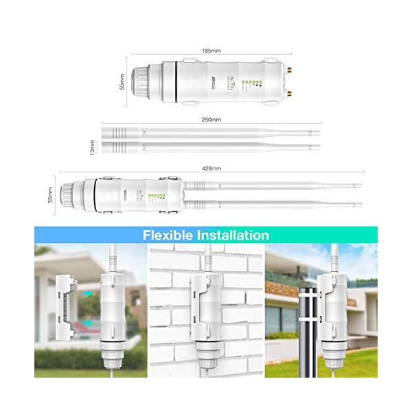 WAVLINK AC600 Wireless Outdoor WiFi Signal Booster,Weatherproof Long Range/Dual-Band 2.4GHz+ 5G &Access Point/Wi-Fi…