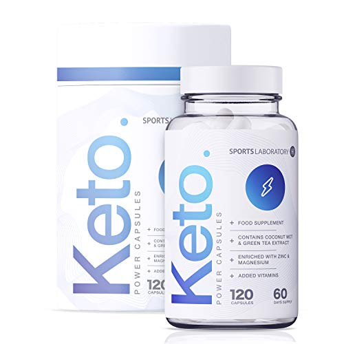 Sports Laboratory Keto Power Diet Pills for Men & Women, 2 Months Supply, Maximum Strength with MCT Oil, Green Tea, Vitamins & Minerals, Fast Slimming Weight Loss Pills, UK Made & Vegan, 120 Capsules