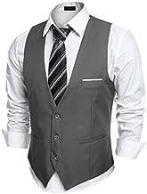 COOFANDY Men's V-Neck Sleeveless Slim Fit Jacket Casual Suit Vests,Type-02 Dark Gray,Large