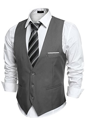 COOFANDY Men's V-Neck Sleeveless Business Suit Vests Slim Fit Wedding Waistcoat, Type-02 Dark Gray, XX-Large