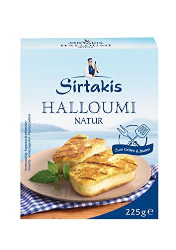 Sirtakis Halloumi Natur - 1x 225gramm Vakuum - Pfannenkäse Pfanne Grillkäse Grill Ofenkäse Ofen 43% Fett in Vakuumverpackung mit Minze Schnittkäse Käse mikrobielles Lab Halal vegetarisch glutenfrei