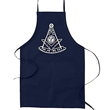 Past Master with Square & Protractor Masonic Cooking Kitchen Apron - [Navy]