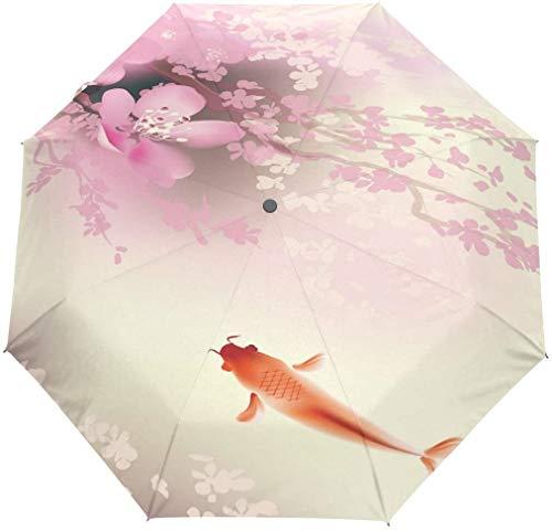 Lente Roze Kersenbloesem Koi Karper 3 Vouwen Auto Open Sluit Paraplu