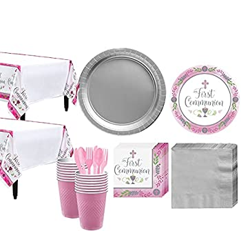 Party City Girl s First Communion Tableware Supplies for 36 Guests Include Plates Napkins Table Covers and Utensils