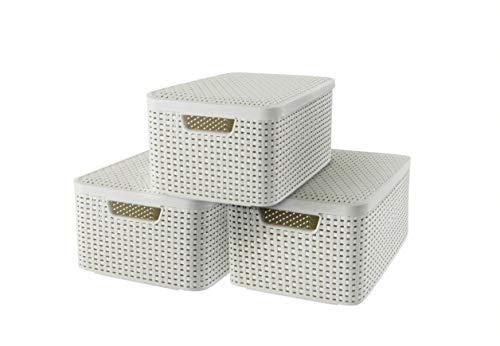 CURVER Lot de 3 Boîtes avec Couvercle - 3 Caisses (3*18L) en Plastique avec un Design Rotin Tressé pour Salle de Bain, Chambre, Bureau - Poignées Ergonomiques - Blanc