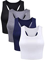 Package contents: you will get 4 pieces of basic crop tank tops in total in various colors, enough quantity for you to choose and have a different wearing enjoyment Comfortable material: the sleeveless racerback crop is made of cotton and spandex, so...