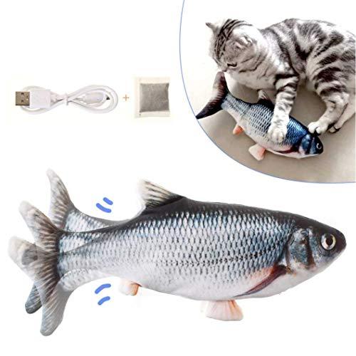 LIUMY Katzenspielzeug Fisch, Katzenminze elektrische Puppe Fisch, Simulation Elektrisch Spielzeug Fisch mit USB Charge, Interaktives Spielzeug für Haustiere (Schwarz)