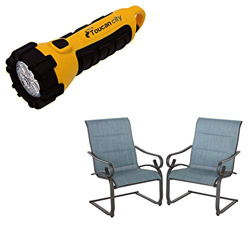 Toucan City LED Flashlight and Hampton Bay Crestridge Steel Sling Padded C-Spring Outdoor Patio Lounge Chair in Conley Denim (2-Pack) FCS60619R-2PK-B