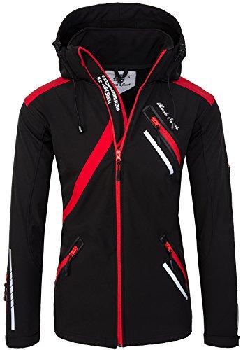 Rock Creek Herren Softshell Jacke Outdoor Regenjacke Softshelljacke Windbreaker Laufjacke Wanderjacke Funktions Sport Jacken H-127 Black L
