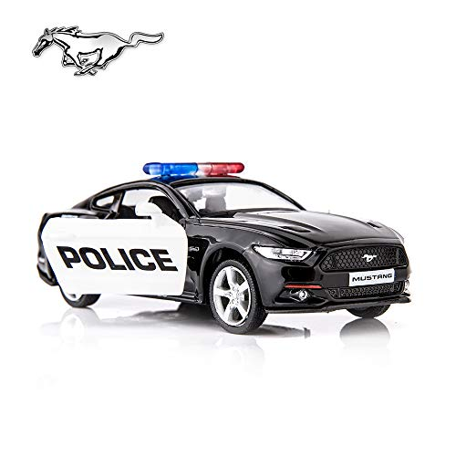 BDTCTK 1/36 Scale Ford Mustang GT Police Car Model Zinc Alloy Die-Cast Pull Back Vehicles Kid Toys for Boy Girl Gift (Black)