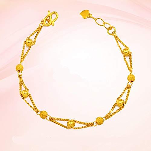 unmarked Pulseras y pulseras de oro puro para mujer, pulsera de bola chapada en oro de 16+3 cm, pulseras de oro de moda, pulseras de señoras/niñas