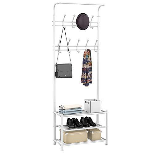 Yaheetech Metall Garderobenständer Kleiderständer Wandgarderobe mit Schuhablagen, 18 Haken, bis 120 kg weiß